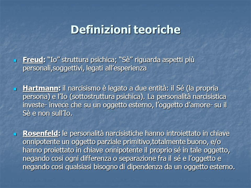 Definizioni teoriche Freud: Io struttura psichica; Sè riguarda aspetti più personali,soggettivi, legati allesperienza Freud: Io struttura psichica; Sè