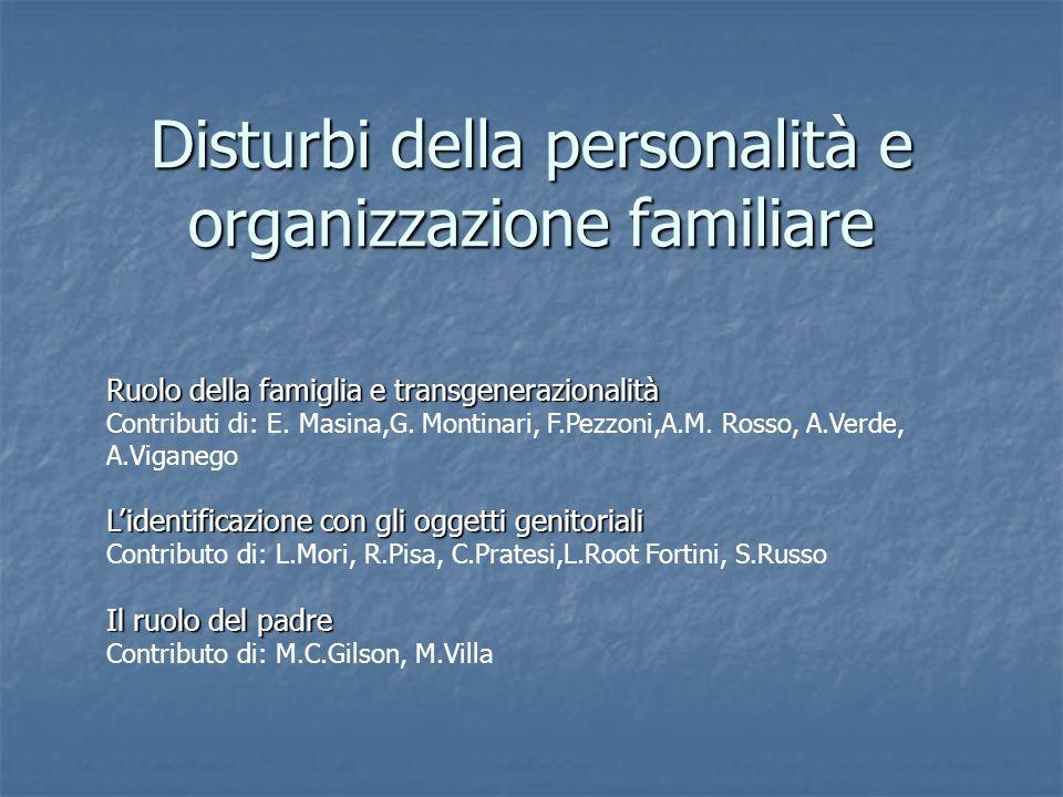 Disturbi della personalità e organizzazione familiare Ruolo della famiglia e transgenerazionalità Contributi di: E. Masina,G. Montinari, F.Pezzoni,A.M