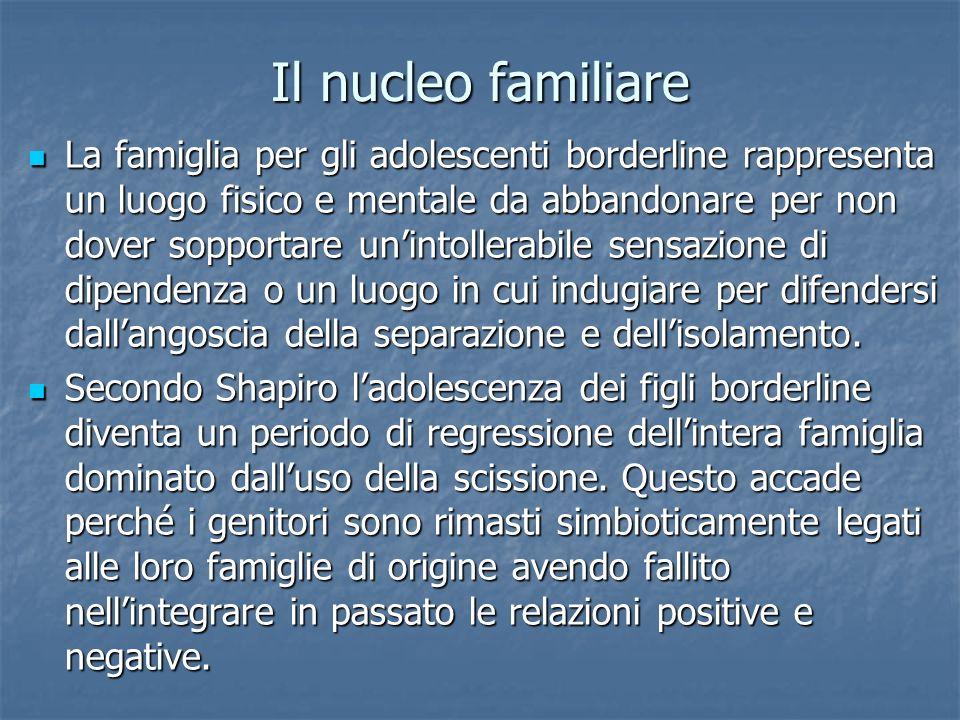 Il nucleo familiare La famiglia per gli adolescenti borderline rappresenta un luogo fisico e mentale da abbandonare per non dover sopportare unintolle