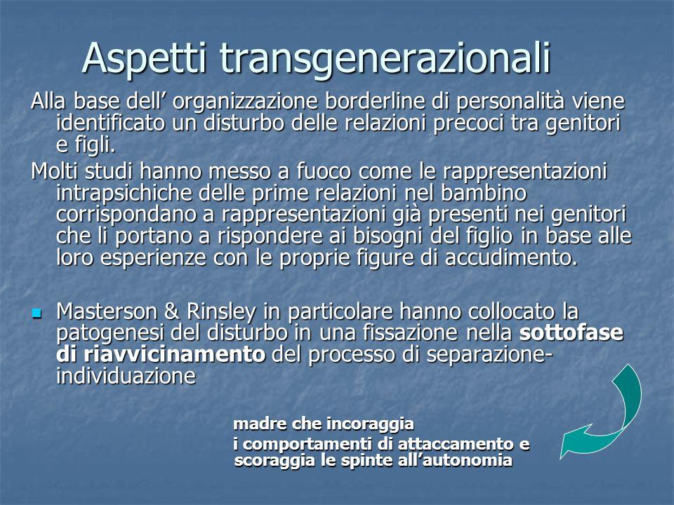 Aspetti transgenerazionali Alla base dell organizzazione borderline di personalità viene identificato un disturbo delle relazioni precoci tra genitori