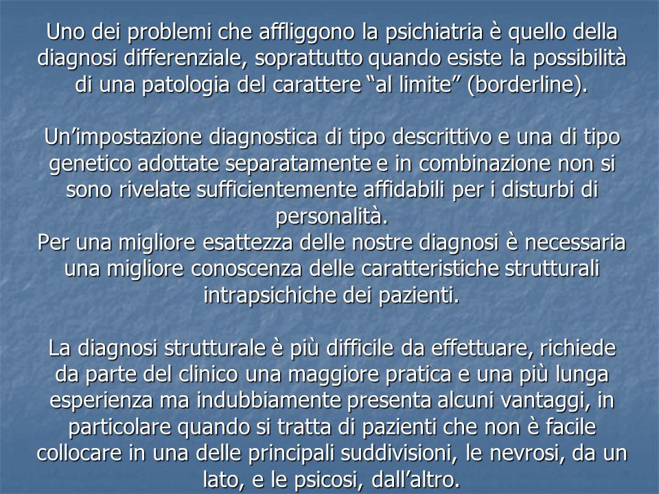 Uno dei problemi che affliggono la psichiatria è quello della diagnosi differenziale, soprattutto quando esiste la possibilità di una patologia del ca