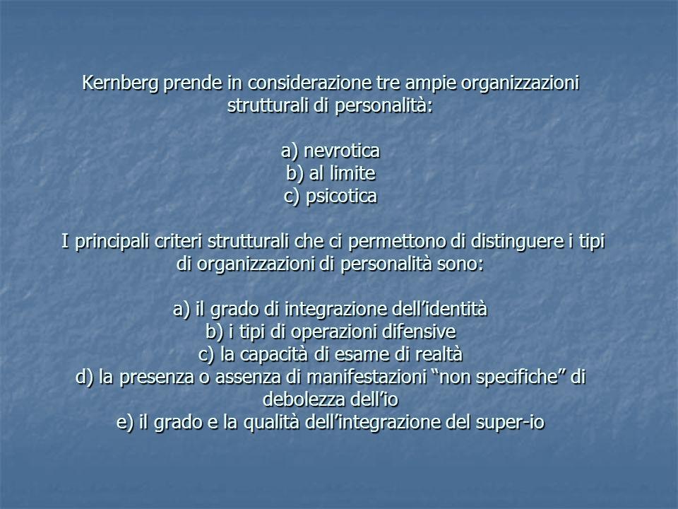Caratteristiche strutturali delle personalità al limite I sintomi descrittivi dei pazienti borderline sono simili ai sintomi rilevabili nelle comuni nevrosi sintomatiche e nella comune patologia caratteriale, ma la concomitanza di certi tratti contraddistingue in modo inoppugnabile i casi al limite (Kernberg)