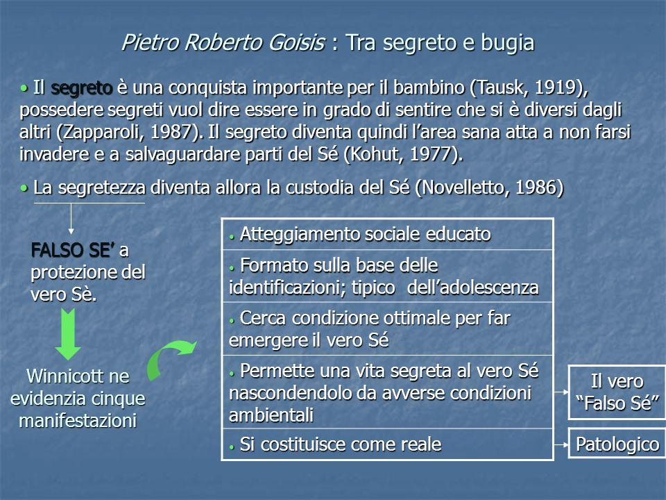Pietro Roberto Goisis : Tra segreto e bugia Il segreto è una conquista importante per il bambino (Tausk, 1919), possedere segreti vuol dire essere in