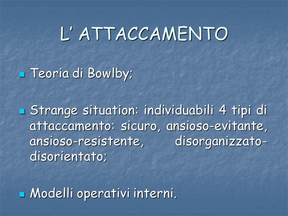 L ATTACCAMENTO Teoria di Bowlby; Teoria di Bowlby; Strange situation: individuabili 4 tipi di attaccamento: sicuro, ansioso-evitante, ansioso-resisten