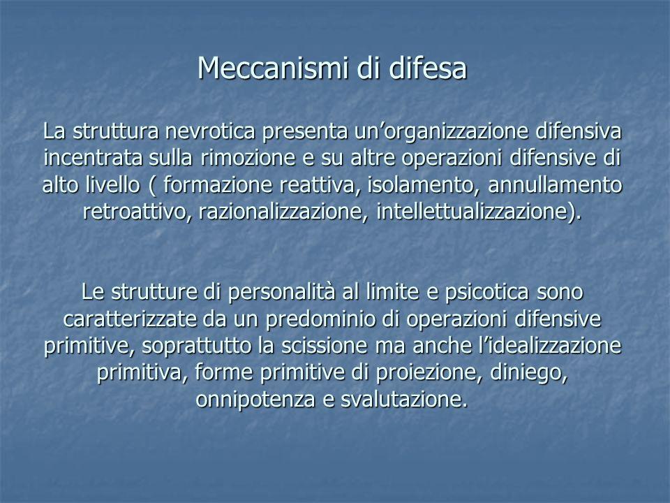 Meccanismi di difesa La struttura nevrotica presenta unorganizzazione difensiva incentrata sulla rimozione e su altre operazioni difensive di alto liv