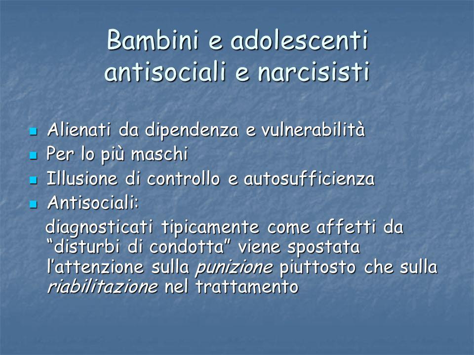 Bambini e adolescenti antisociali e narcisisti Alienati da dipendenza e vulnerabilità Alienati da dipendenza e vulnerabilità Per lo più maschi Per lo