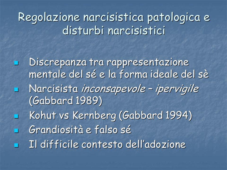 Regolazione narcisistica patologica e disturbi narcisistici Discrepanza tra rappresentazione mentale del sé e la forma ideale del sè Discrepanza tra r