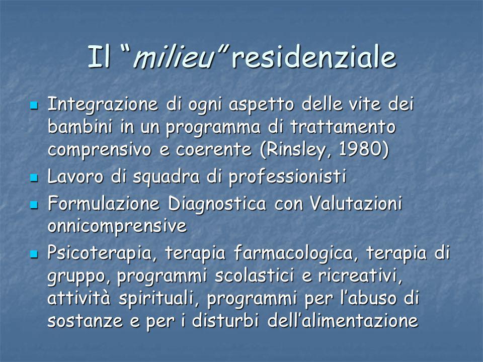 Il milieu residenziale Integrazione di ogni aspetto delle vite dei bambini in un programma di trattamento comprensivo e coerente (Rinsley, 1980) Integ