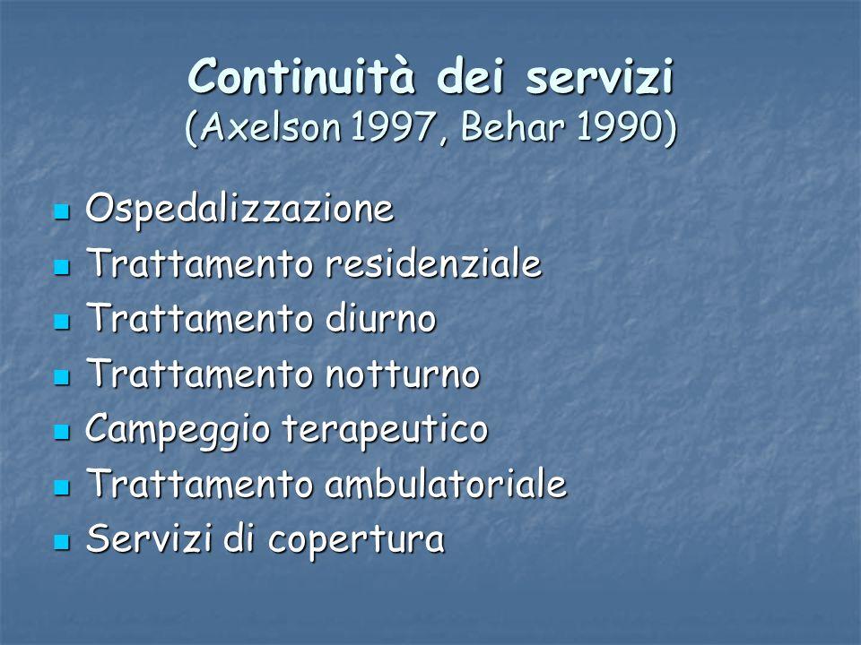 Continuità dei servizi (Axelson 1997, Behar 1990) Ospedalizzazione Ospedalizzazione Trattamento residenziale Trattamento residenziale Trattamento diur