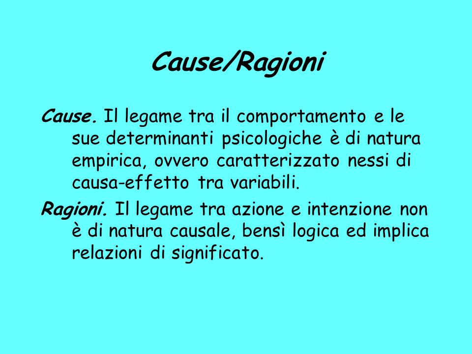 Cause/Ragioni Cause.
