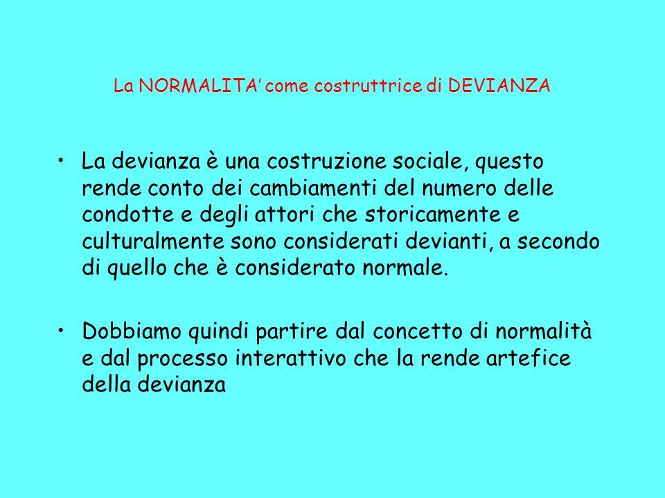 La NORMALITA come costruttrice di DEVIANZA La devianza è una costruzione sociale, questo rende conto dei cambiamenti del numero delle condotte e degli attori che storicamente e culturalmente sono considerati devianti, a secondo di quello che è considerato normale.