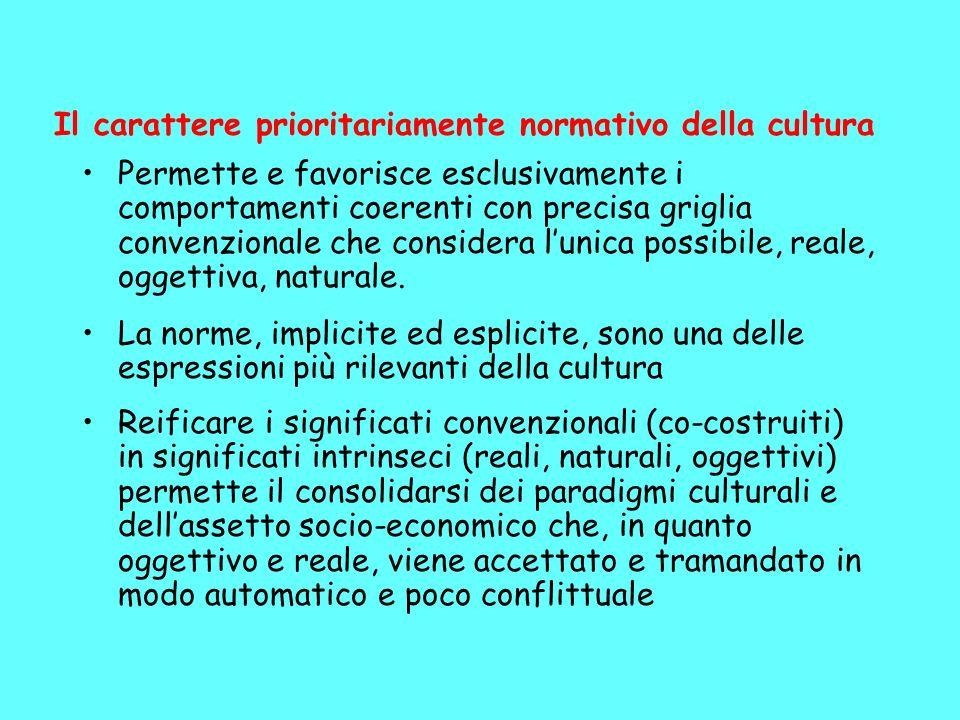 Il carattere prioritariamente normativo della cultura Permette e favorisce esclusivamente i comportamenti coerenti con precisa griglia convenzionale che considera lunica possibile, reale, oggettiva, naturale.