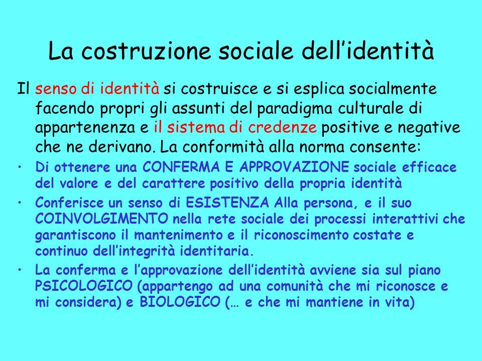 La costruzione sociale dellidentità Il senso di identità si costruisce e si esplica socialmente facendo propri gli assunti del paradigma culturale di appartenenza e il sistema di credenze positive e negative che ne derivano.