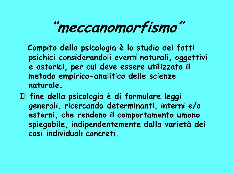 meccanomorfismo Compito della psicologia è lo studio dei fatti psichici considerandoli eventi naturali, oggettivi e astorici, per cui deve essere utilizzato il metodo empirico-analitico delle scienze naturale.