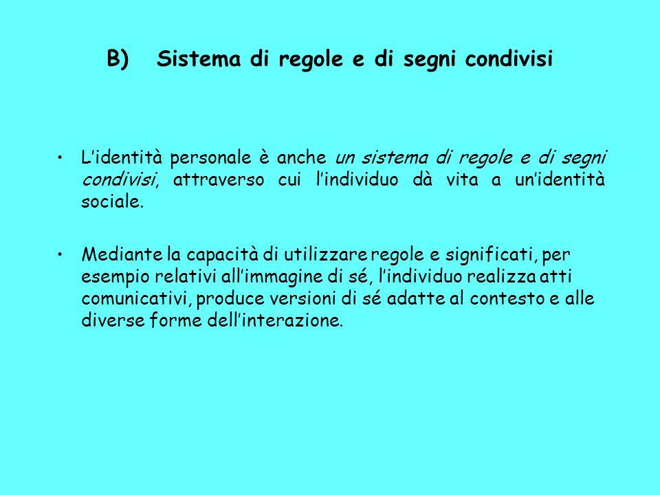 B) Sistema di regole e di segni condivisi Lidentità personale è anche un sistema di regole e di segni condivisi, attraverso cui lindividuo dà vita a unidentità sociale.