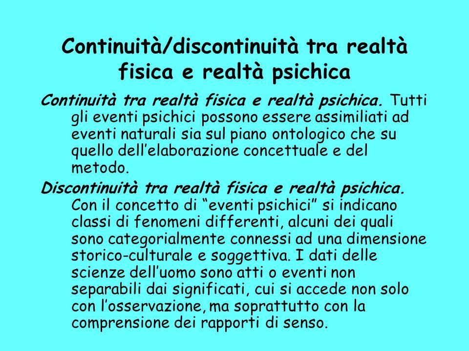 Continuità/discontinuità tra realtà fisica e realtà psichica Continuità tra realtà fisica e realtà psichica.