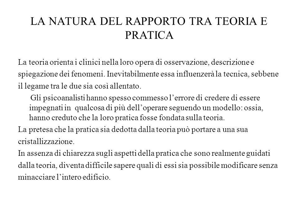 LA NATURA DEL RAPPORTO TRA TEORIA E PRATICA La teoria orienta i clinici nella loro opera di osservazione, descrizione e spiegazione dei fenomeni. Inev