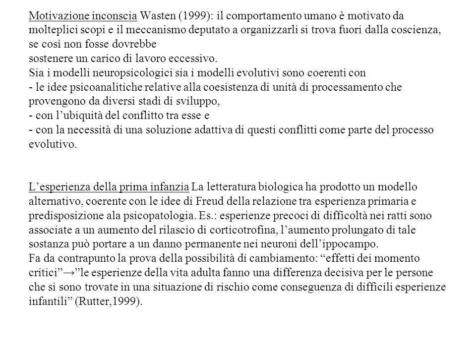 Motivazione inconscia Wasten (1999): il comportamento umano è motivato da molteplici scopi e il meccanismo deputato a organizzarli si trova fuori dall