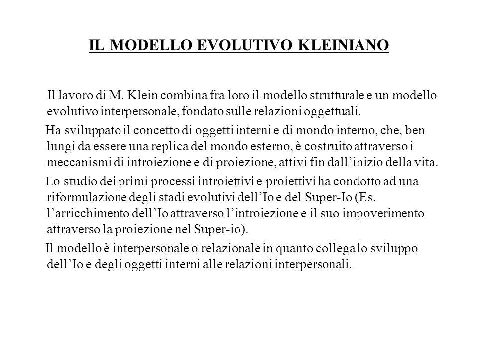 IL MODELLO EVOLUTIVO KLEINIANO Il lavoro di M. Klein combina fra loro il modello strutturale e un modello evolutivo interpersonale, fondato sulle rela