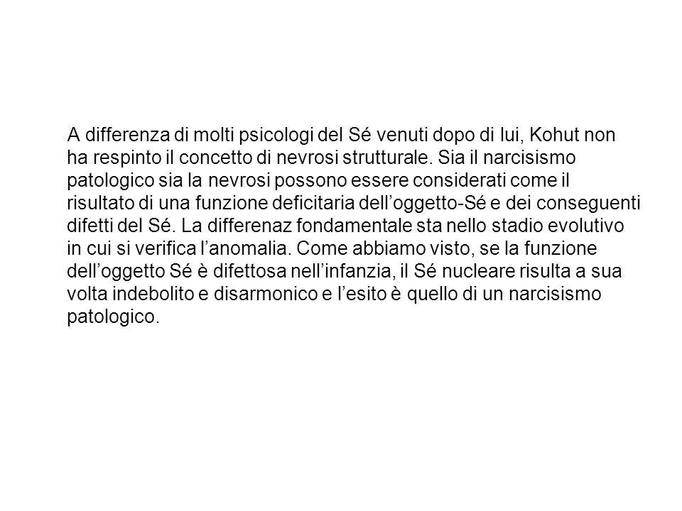 A differenza di molti psicologi del Sé venuti dopo di lui, Kohut non ha respinto il concetto di nevrosi strutturale. Sia il narcisismo patologico sia