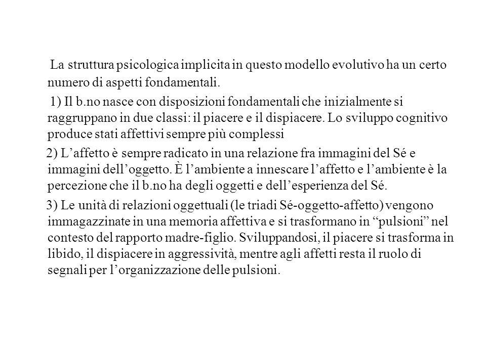 La struttura psicologica implicita in questo modello evolutivo ha un certo numero di aspetti fondamentali. 1) Il b.no nasce con disposizioni fondament