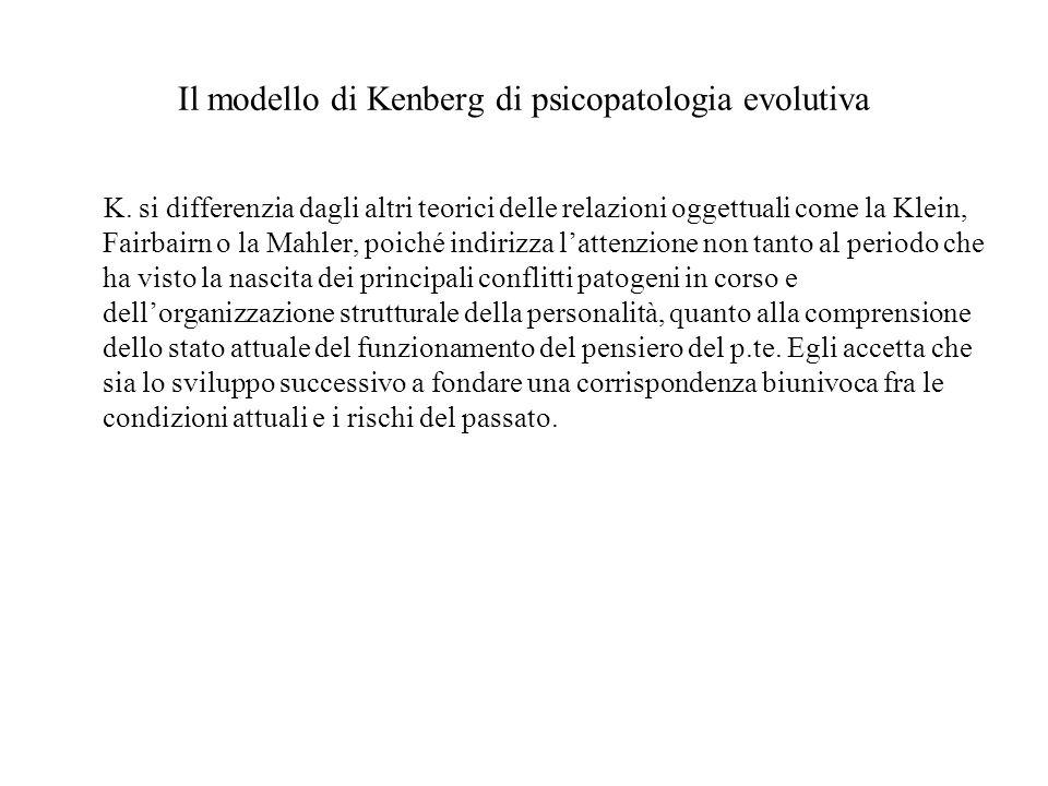 Il modello di Kenberg di psicopatologia evolutiva K. si differenzia dagli altri teorici delle relazioni oggettuali come la Klein, Fairbairn o la Mahle
