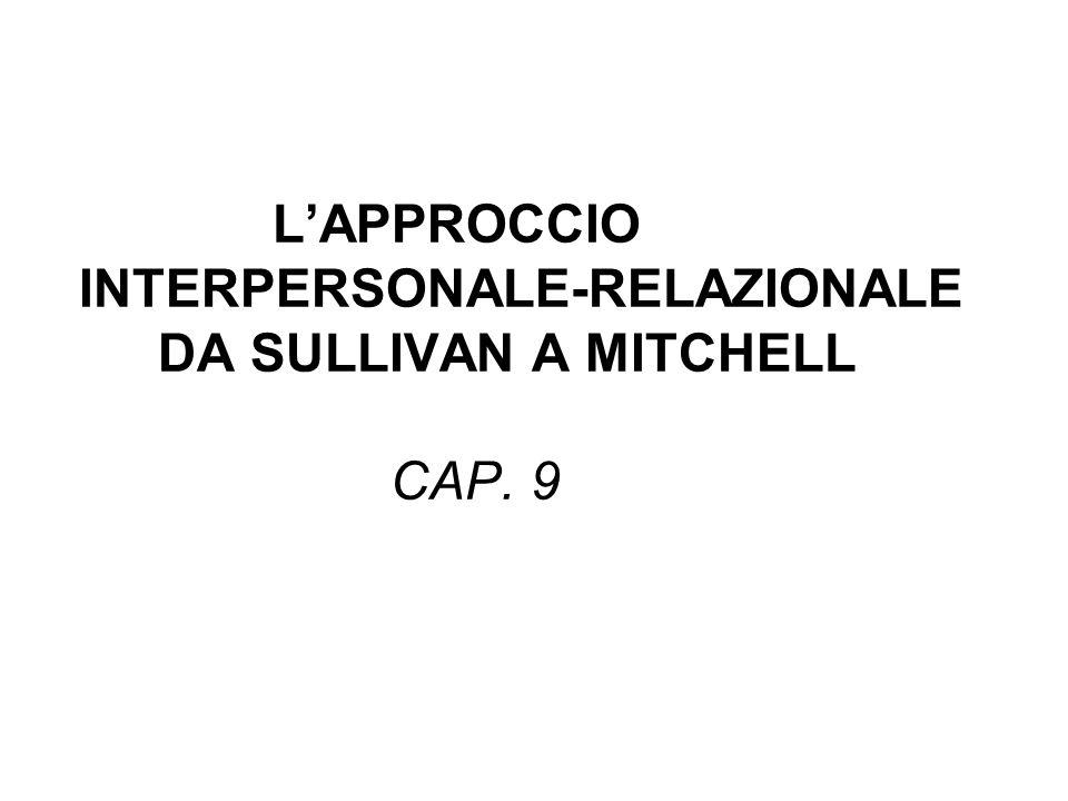 LAPPROCCIO INTERPERSONALE-RELAZIONALE DA SULLIVAN A MITCHELL CAP. 9
