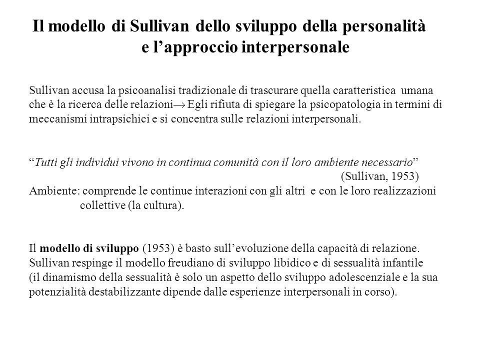 Il modello di Sullivan dello sviluppo della personalità e lapproccio interpersonale Sullivan accusa la psicoanalisi tradizionale di trascurare quella