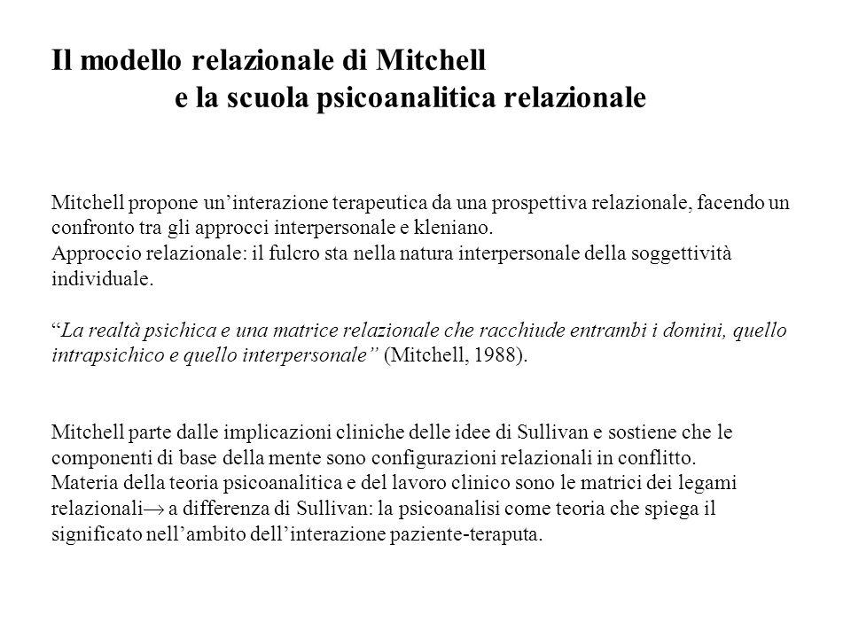 Il modello relazionale di Mitchell e la scuola psicoanalitica relazionale Mitchell propone uninterazione terapeutica da una prospettiva relazionale, f