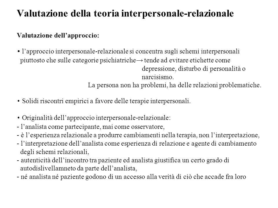 Valutazione della teoria interpersonale-relazionale Valutazione dellapproccio: lapproccio interpersonale-relazionale si concentra sugli schemi interpe