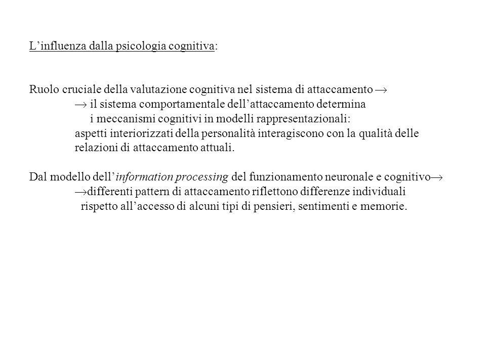 Linfluenza dalla psicologia cognitiva: Ruolo cruciale della valutazione cognitiva nel sistema di attaccamento il sistema comportamentale dellattaccame