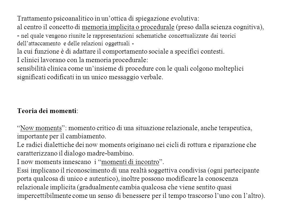 Trattamento psicoanalitico in unottica di spiegazione evolutiva: al centro il concetto di memoria implicita o procedurale (preso dalla scienza cogniti