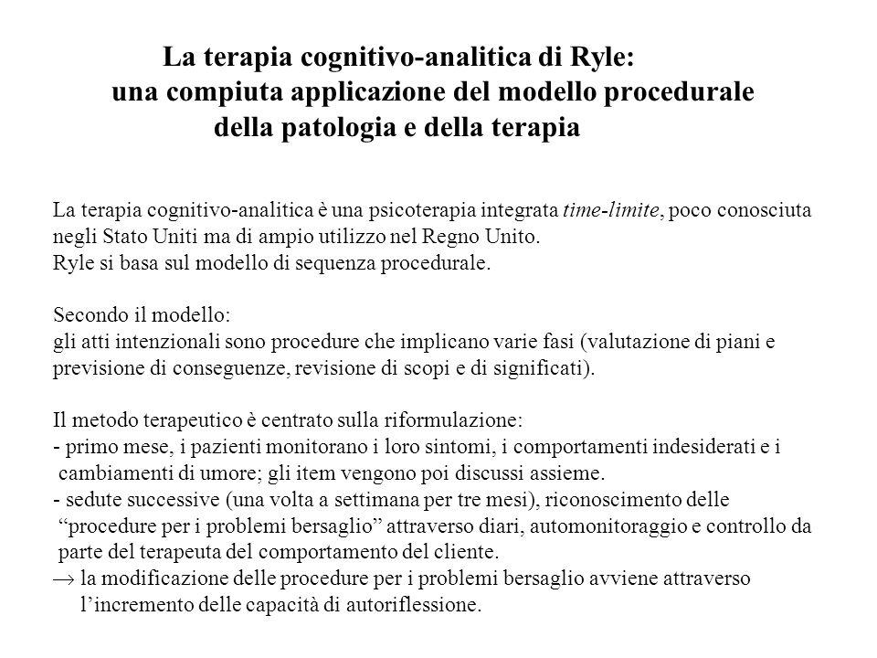 La terapia cognitivo-analitica di Ryle: una compiuta applicazione del modello procedurale della patologia e della terapia La terapia cognitivo-analiti
