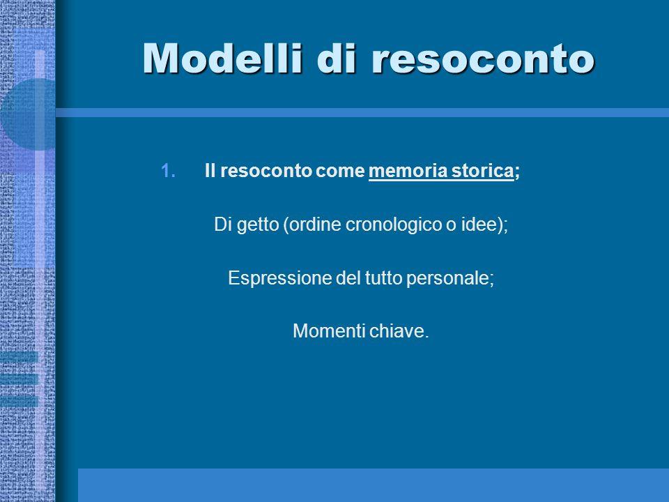 Modelli di resoconto 1.Il resoconto come memoria storica; Di getto (ordine cronologico o idee); Espressione del tutto personale; Momenti chiave.