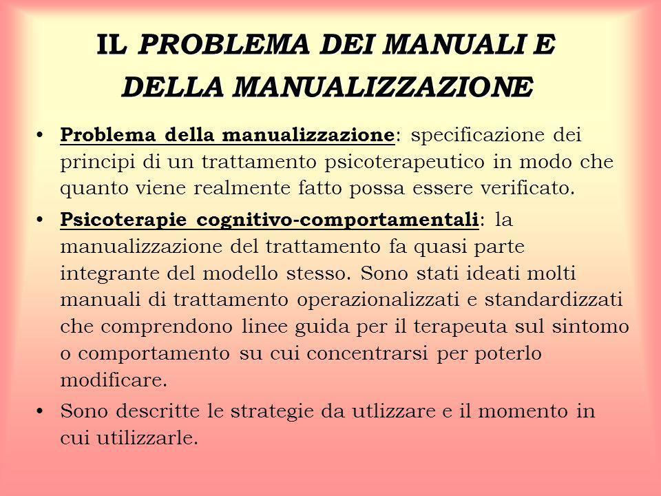 IL PROBLEMA DEI MANUALI E DELLA MANUALIZZAZIONE Problema della manualizzazione : specificazione dei principi di un trattamento psicoterapeutico in mod