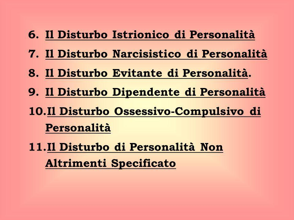 6.Il Disturbo Istrionico di Personalità 7.Il Disturbo Narcisistico di Personalità 8.Il Disturbo Evitante di Personalità. 9.Il Disturbo Dipendente di P
