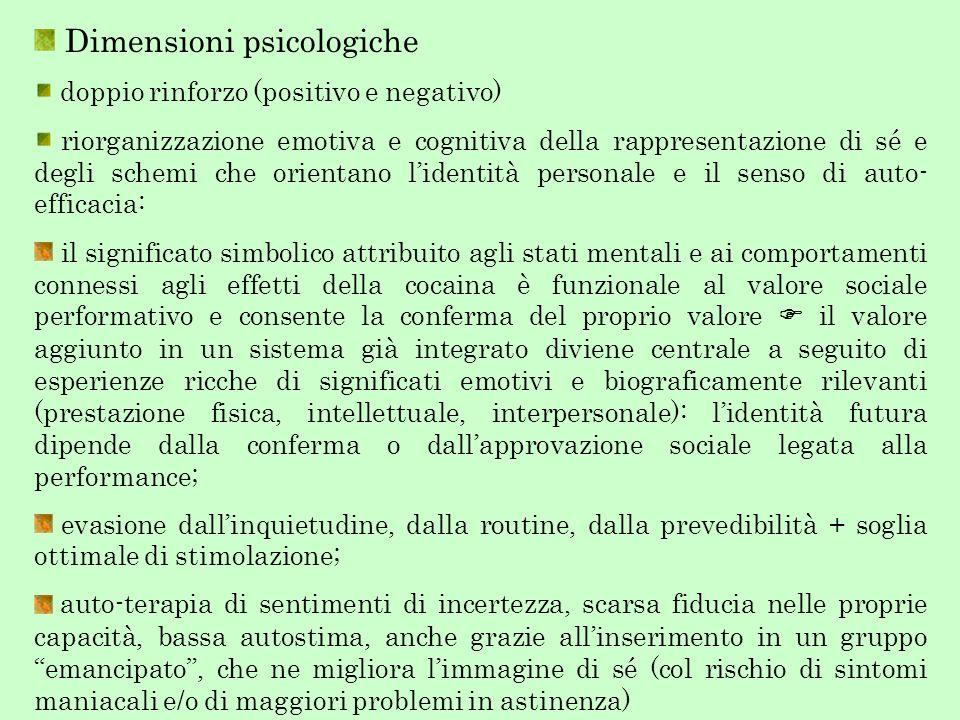 Dimensioni psicologiche doppio rinforzo (positivo e negativo) riorganizzazione emotiva e cognitiva della rappresentazione di sé e degli schemi che ori