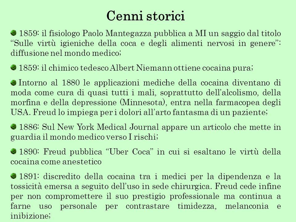 Cenni storici 1859: il fisiologo Paolo Mantegazza pubblica a MI un saggio dal titolo Sulle virtù igieniche della coca e degli alimenti nervosi in gene
