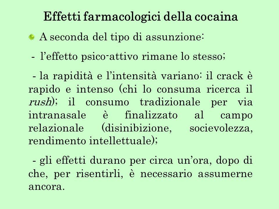 Effetti farmacologici della cocaina A seconda del tipo di assunzione: - leffetto psico-attivo rimane lo stesso; - la rapidità e lintensità variano: il