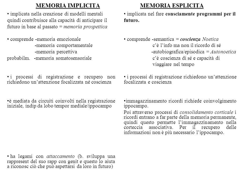 MEMORIA IMPLICITAMEMORIA ESPLICITA MEMORIA IMPLICITA MEMORIA ESPLICITA implicata nella creazione di modelli mentali quindi contribuisce alla capacità