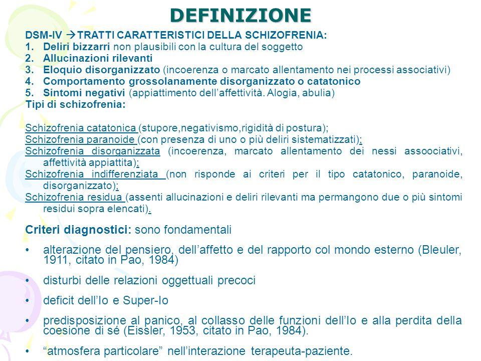 DEFINIZIONE DSM-IV TRATTI CARATTERISTICI DELLA SCHIZOFRENIA: 1.Deliri bizzarri non plausibili con la cultura del soggetto 2.Allucinazioni rilevanti 3.