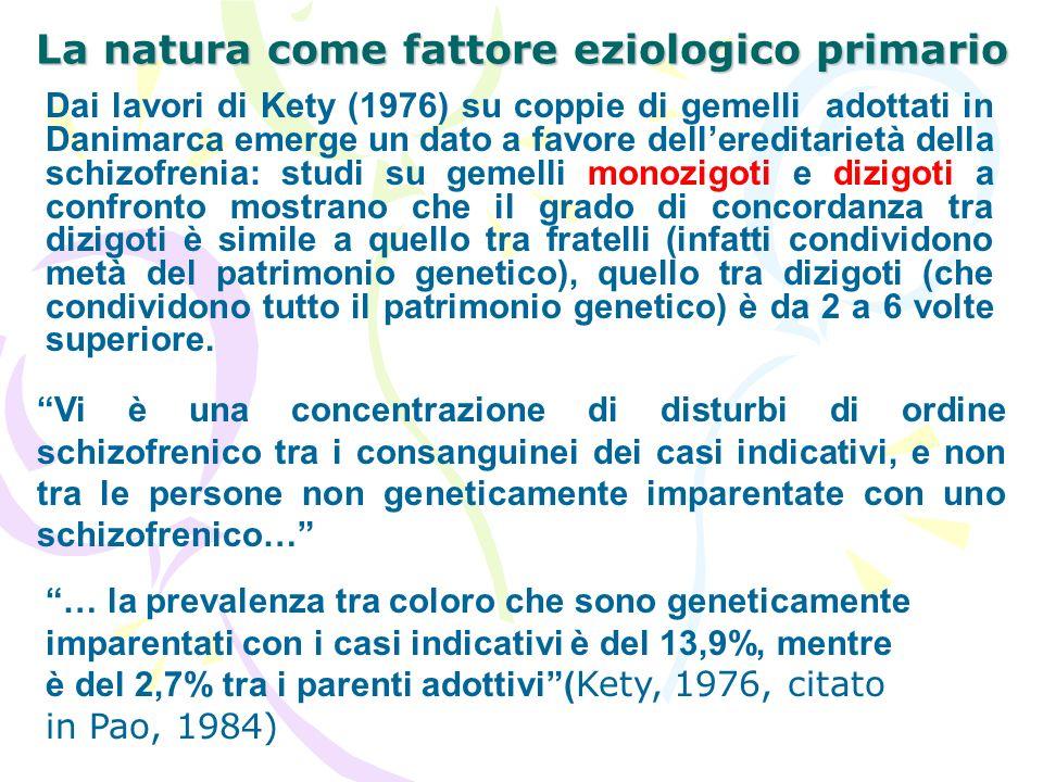 La natura come fattore eziologico primario Dai lavori di Kety (1976) su coppie di gemelli adottati in Danimarca emerge un dato a favore dellereditarie