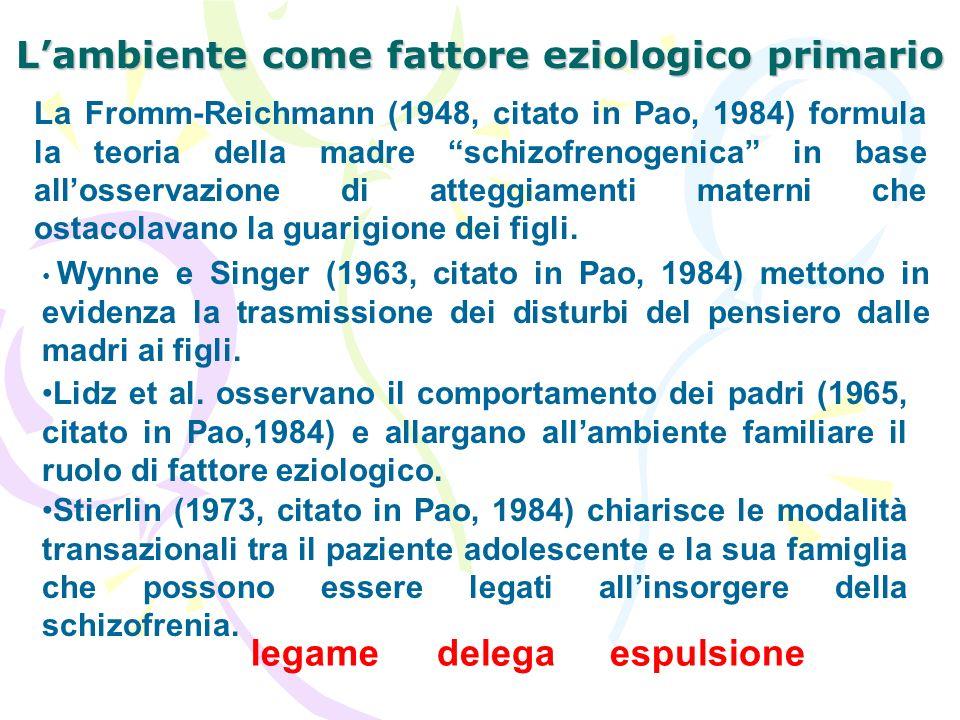 Lambiente come fattore eziologico primario La Fromm-Reichmann (1948, citato in Pao, 1984) formula la teoria della madre schizofrenogenica in base allo
