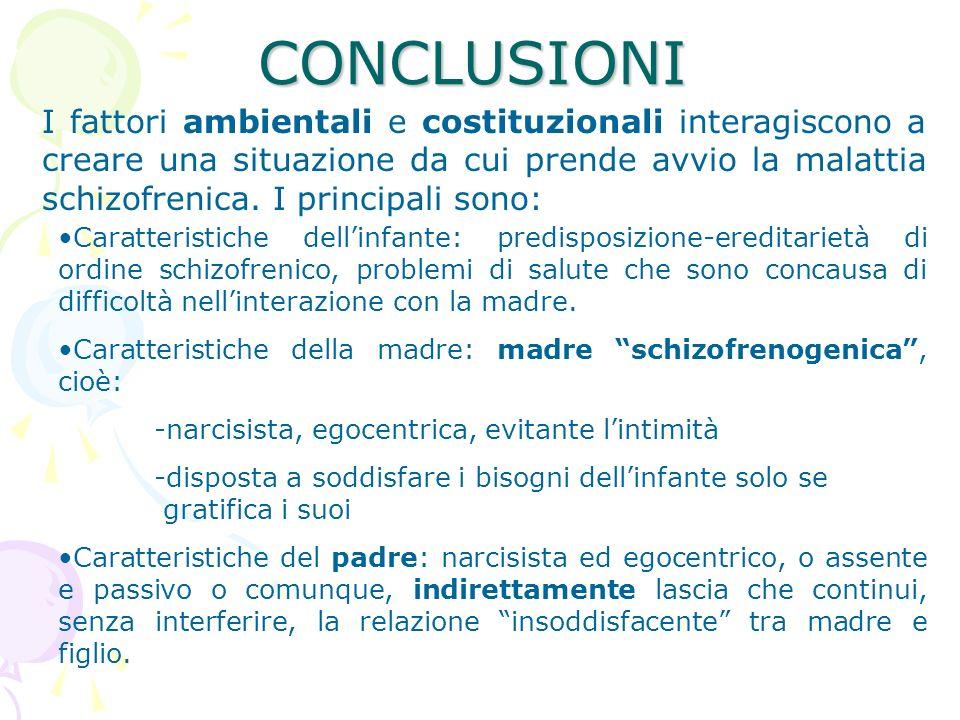 CONCLUSIONI I fattori ambientali e costituzionali interagiscono a creare una situazione da cui prende avvio la malattia schizofrenica. I principali so