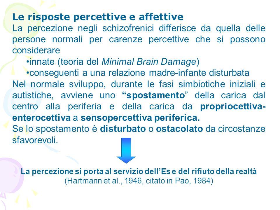 Le risposte percettive e affettive La percezione negli schizofrenici differisce da quella delle persone normali per carenze percettive che si possono