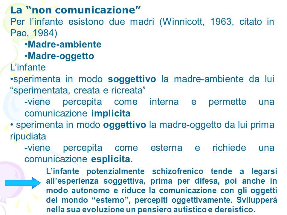 La non comunicazione Per linfante esistono due madri (Winnicott, 1963, citato in Pao, 1984) Madre-ambiente Madre-oggetto Linfante sperimenta in modo s