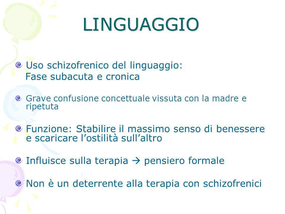 LINGUAGGIO Uso schizofrenico del linguaggio: Fase subacuta e cronica Grave confusione concettuale vissuta con la madre e ripetuta Funzione: Stabilire