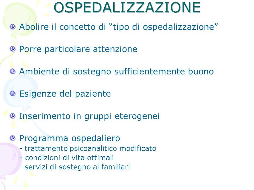 OSPEDALIZZAZIONE Abolire il concetto di tipo di ospedalizzazione Porre particolare attenzione Ambiente di sostegno sufficientemente buono Esigenze del