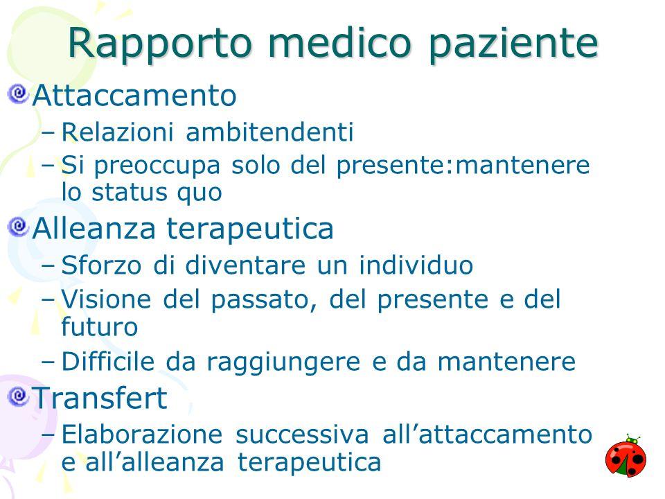 Rapporto medico paziente Attaccamento –Relazioni ambitendenti –Si preoccupa solo del presente:mantenere lo status quo Alleanza terapeutica –Sforzo di