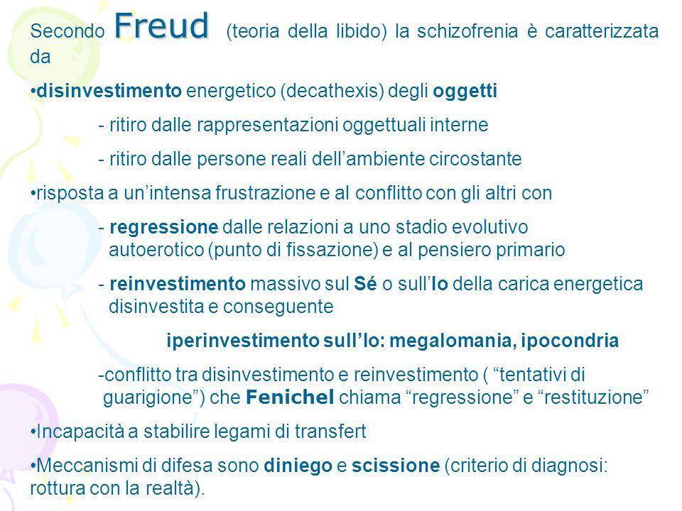 Freud Secondo Freud (teoria della libido) la schizofrenia è caratterizzata da disinvestimento energetico (decathexis) degli oggetti - ritiro dalle rap